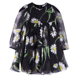 Baby Girls Black Flower Printed Silk Chiffon Dress With Elasticated Cuffs - CÉMAROSE | Children's Fashion Store - 1