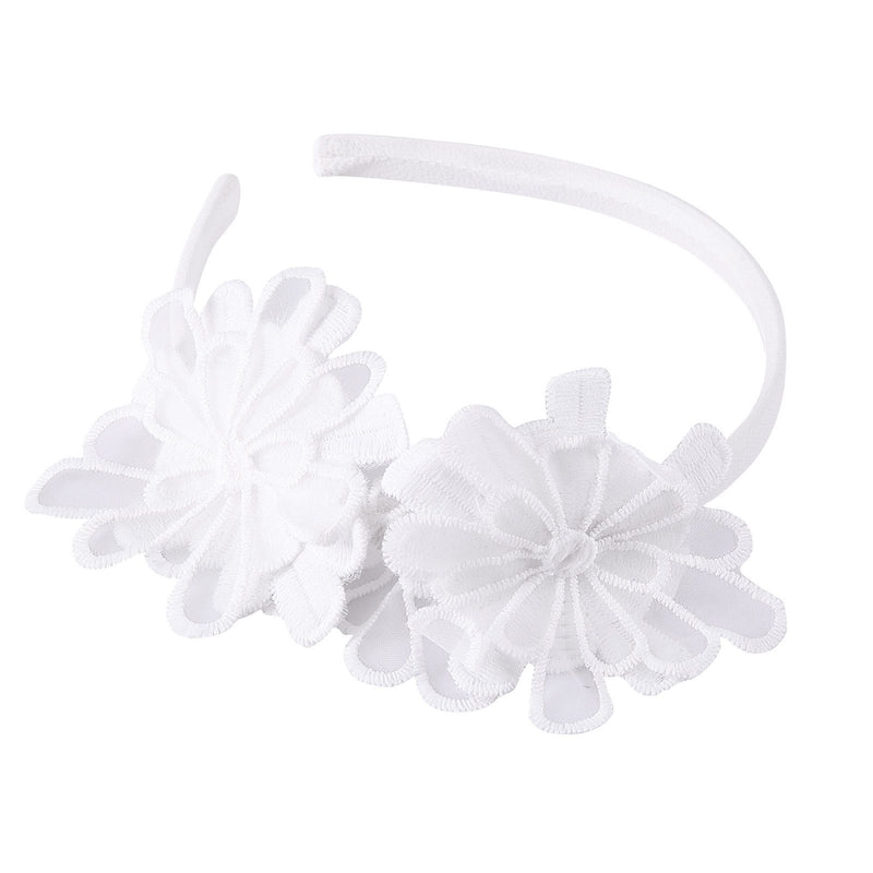 Girls White Lace Patch Flower Headband - CÉMAROSE | Children's Fashion Store - 1