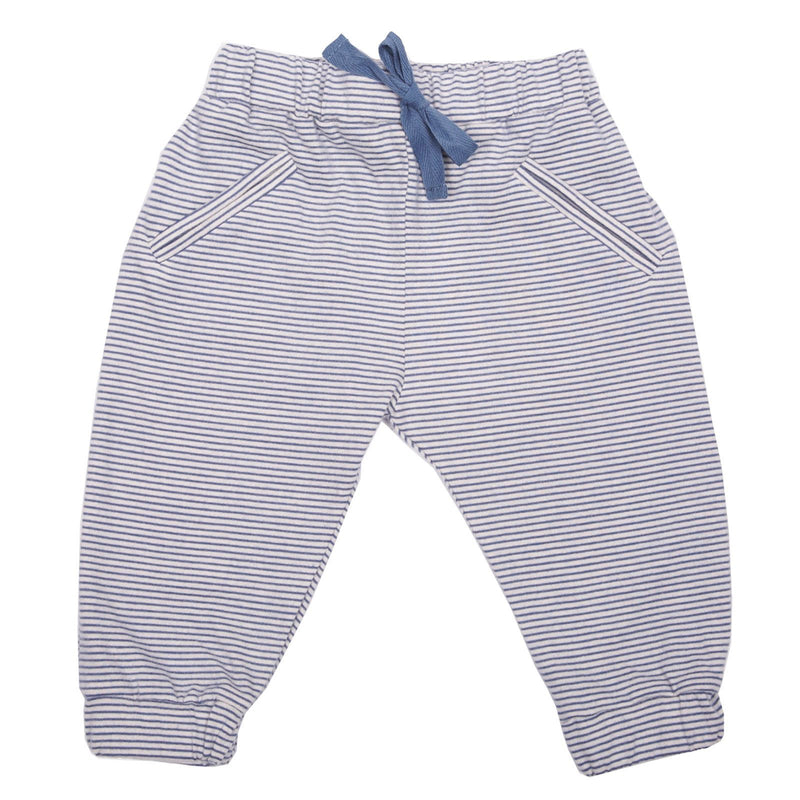 Baby Blue Stripe Cotton Trousers With Elastic Cuffs - CÉMAROSE | Children's Fashion Store