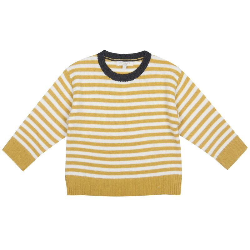 Boys Yellow&White Stripe Wool Knitted Sweater - CÉMAROSE | Children's Fashion Store - 1