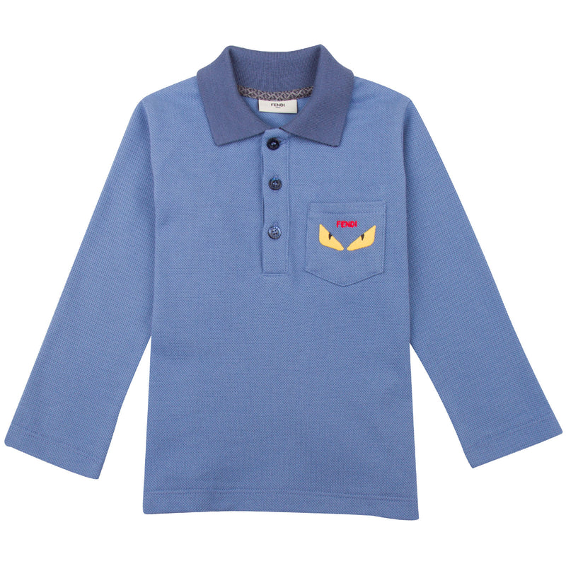 Baby Boys Sky Blue Monster Cotton Polo Shirt - CÉMAROSE | Children's Fashion Store - 1