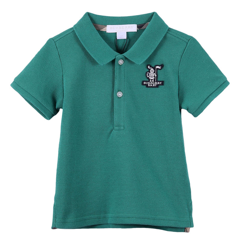Baby Boys Storm Green Cotton Polo Shirt With Embroidered Logo - CÉMAROSE | Children's Fashion Store - 1