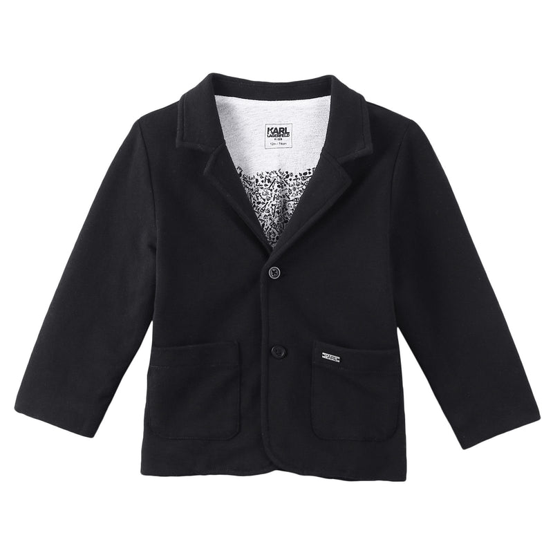 Baby Black Cotton Blazer With Patch Jackets - CÉMAROSE | Children's Fashion Store - 1