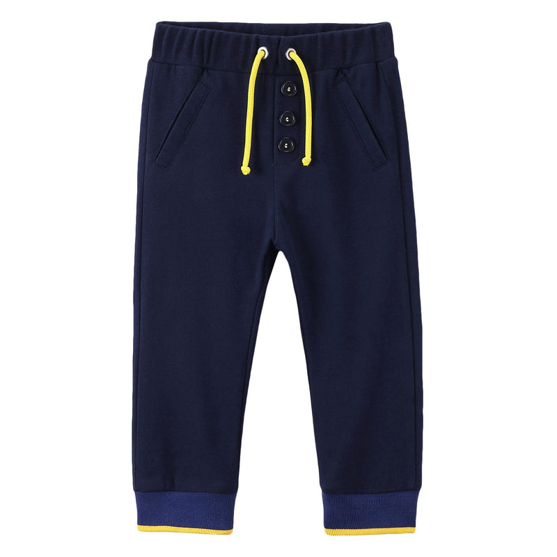 Baby Boys Blue Drawstring Trousers With Ribbed Cuffs - CÉMAROSE | Children's Fashion Store - 1