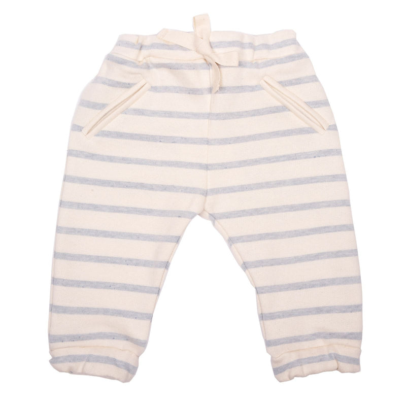 Baby Girls Pink Cotton Trousers With Blue Stripe - CÉMAROSE | Children's Fashion Store