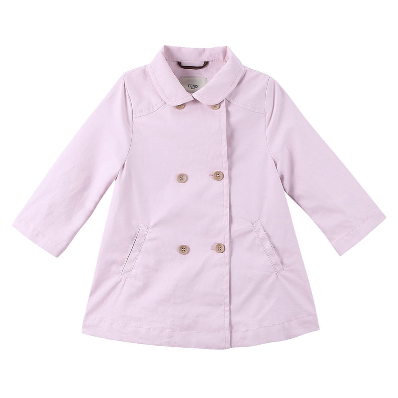 Baby Girls Pink Double Buttoned Trench Coat - CÉMAROSE | Children's Fashion Store - 1