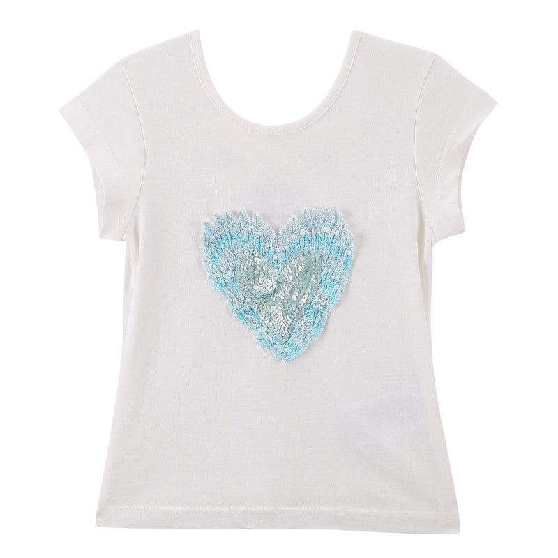 Girls White Cotton T-Shirt With Patch Sequin Heart Trims - CÉMAROSE | Children's Fashion Store - 1
