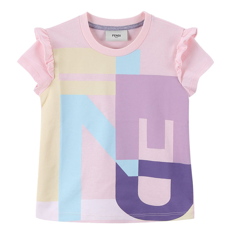 Girls Multicolour Cotton T-Shirt With Pink Frilly Cuffs - CÉMAROSE | Children's Fashion Store - 1