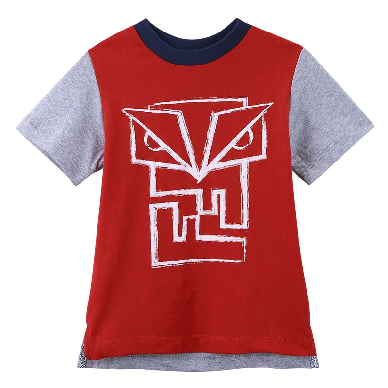 Boys Red&Grey 'FF Monster' Printed Cotton T-Shirt - CÉMAROSE | Children's Fashion Store - 1