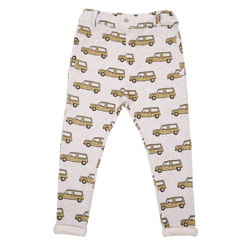 Boys & Girls Grey Cotton Trousers With Bus Print Trims - CÉMAROSE | Children's Fashion Store