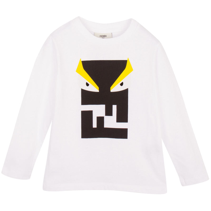 Boys White Printed Monster Cotton T-Shirt - CÉMAROSE | Children's Fashion Store - 1