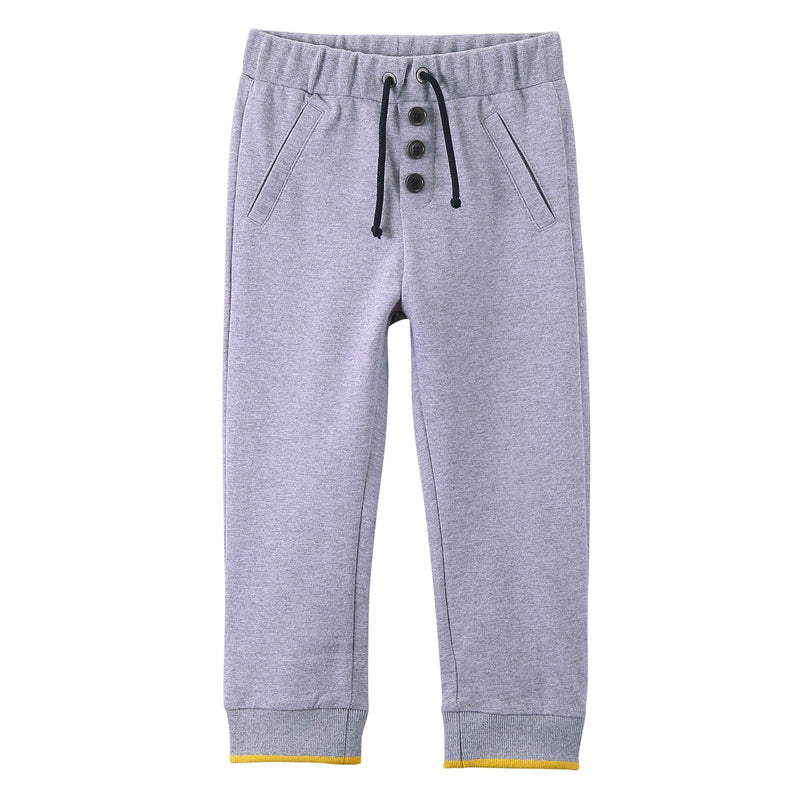 Baby Boys Grey Drawstring Trousers With Ribbed Cuffs - CÉMAROSE | Children's Fashion Store - 1