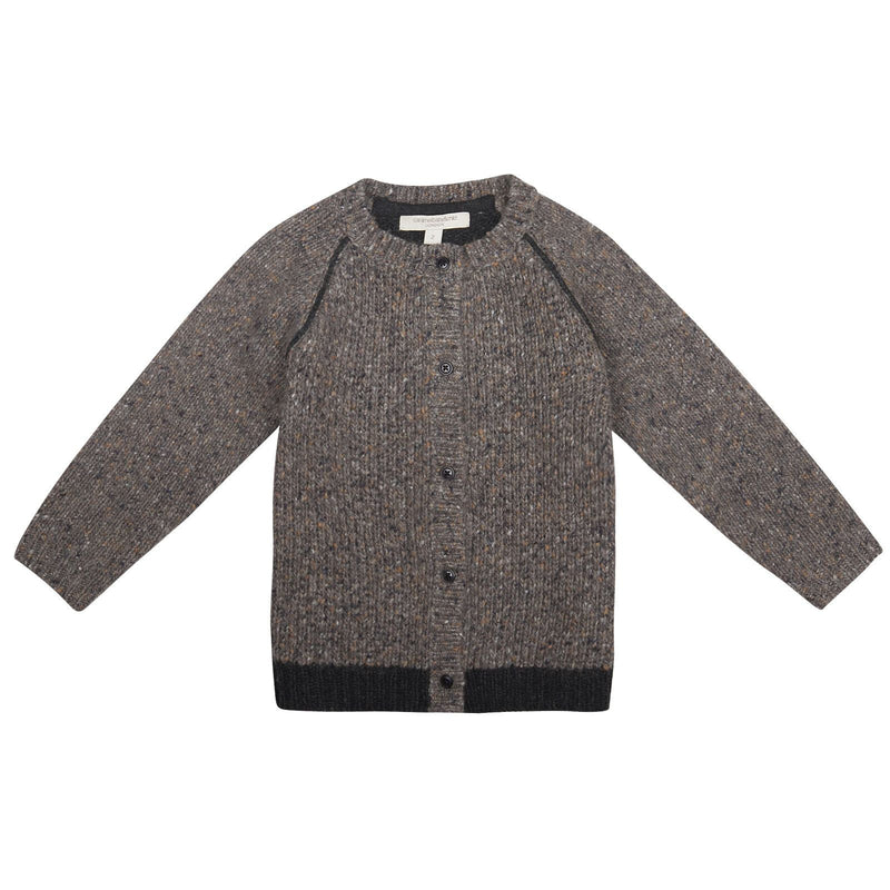 Boys Grey Knitted Wool&Contton Cardigan - CÉMAROSE | Children's Fashion Store - 1