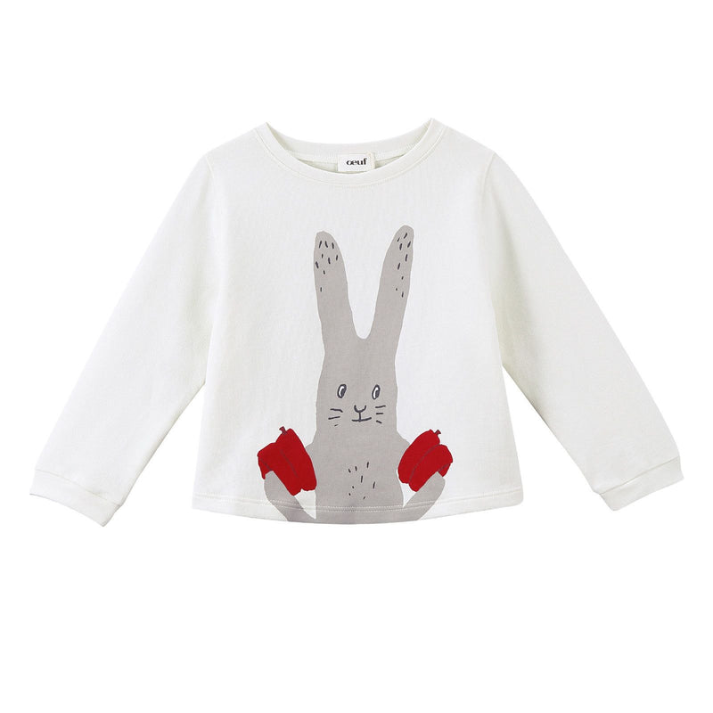 Girls White Bunny Printed Trims Sweatshirt - CÉMAROSE | Children's Fashion Store - 1
