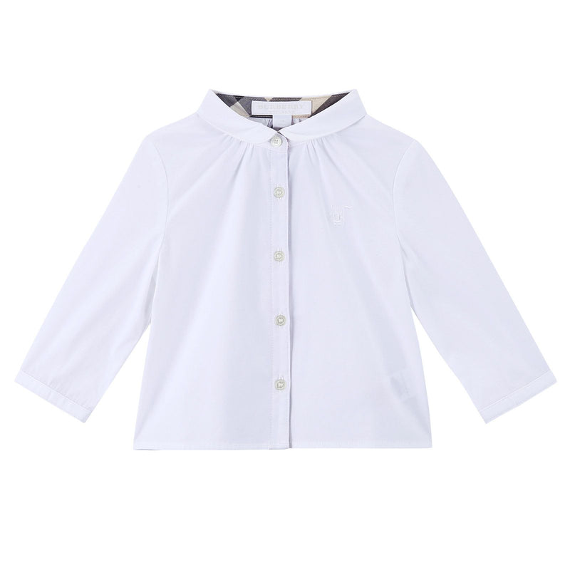 Baby Girls White Cotton Shirts With Embroidered Trims - CÉMAROSE | Children's Fashion Store - 1