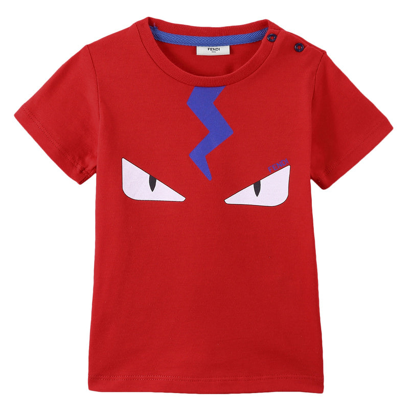 Baby Boys Red Cotton 'Monster' Printed T-Shirt - CÉMAROSE | Children's Fashion Store - 1