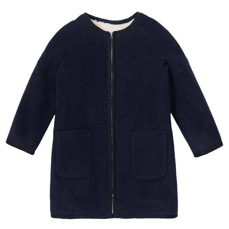 Gils Navy Blue Fur Lined Coat With Pockets - CÉMAROSE | Children's Fashion Store - 1