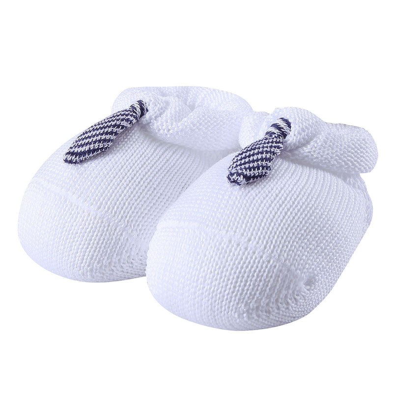 Baby White Knitted Cotton Shoes With Blue Tie Trims - CÉMAROSE | Children's Fashion Store - 1
