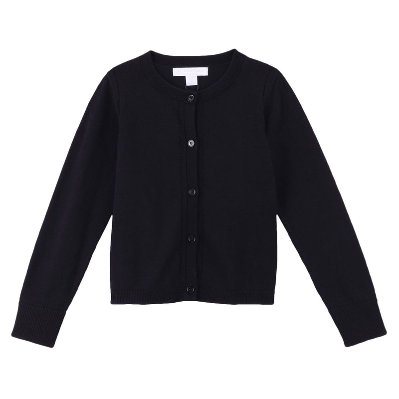Girls Black Knitted Cotton Cardigan - CÉMAROSE | Children's Fashion Store - 1