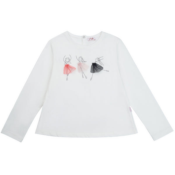 Girls White & Pink Cotton Shirt