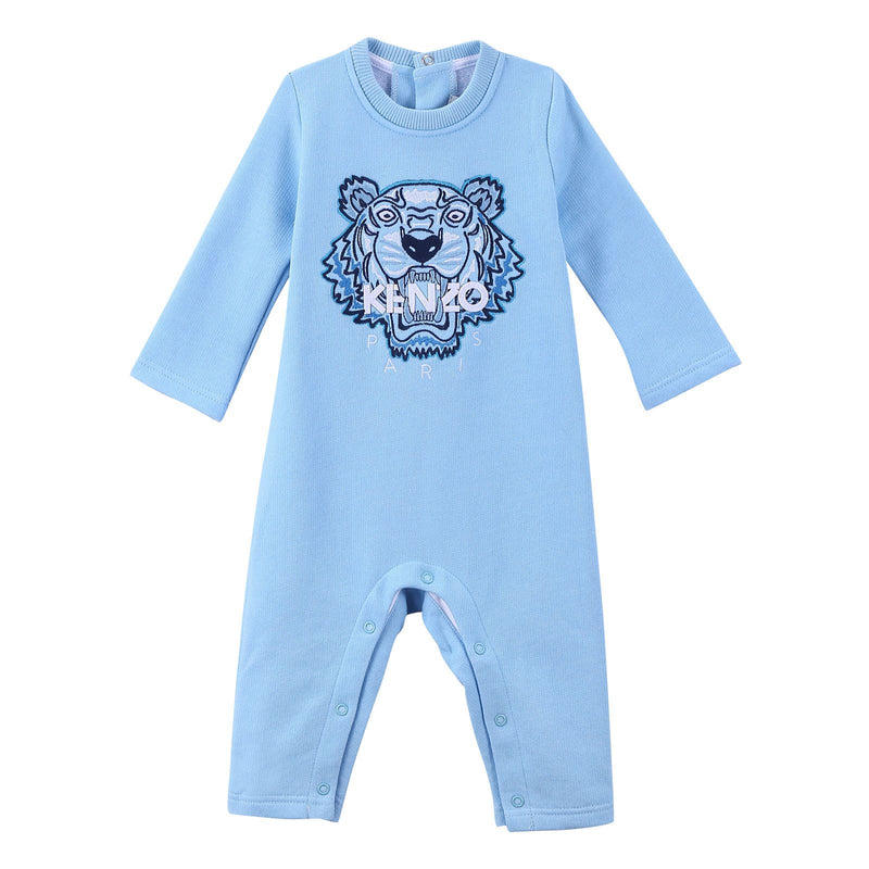Baby Sky Blue Cotton Embroidered Tiger Head Babygrow - CÉMAROSE | Children's Fashion Store - 1
