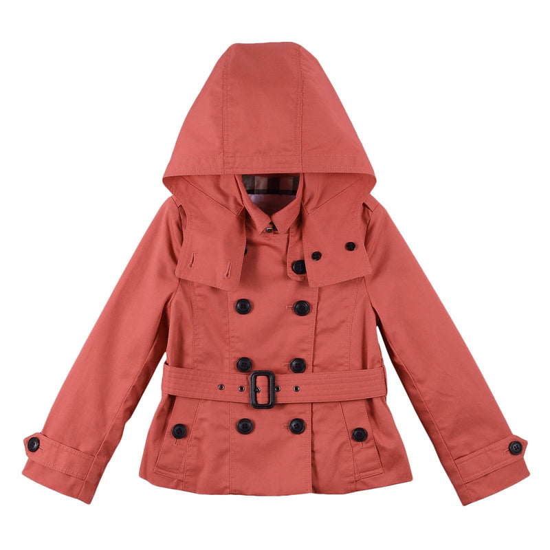 Girls Bright Copper Pink Hooded Cotton Jacket - CÉMAROSE | Children's Fashion Store - 1