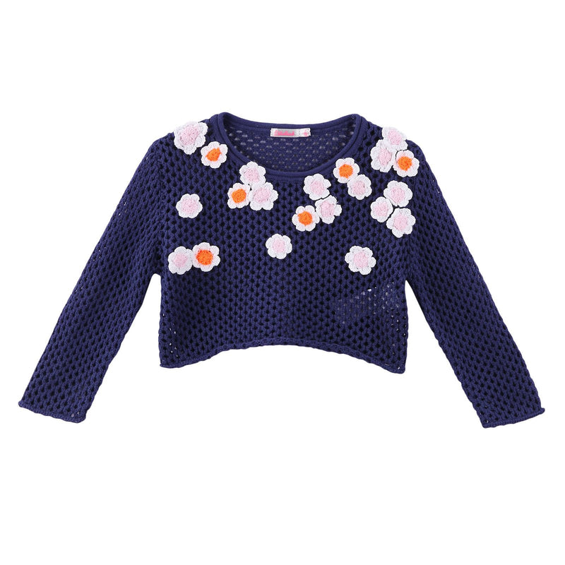 Girls Navy Blue Knitted Cotton Sweater With Patch Flower Trims - CÉMAROSE | Children's Fashion Store - 1