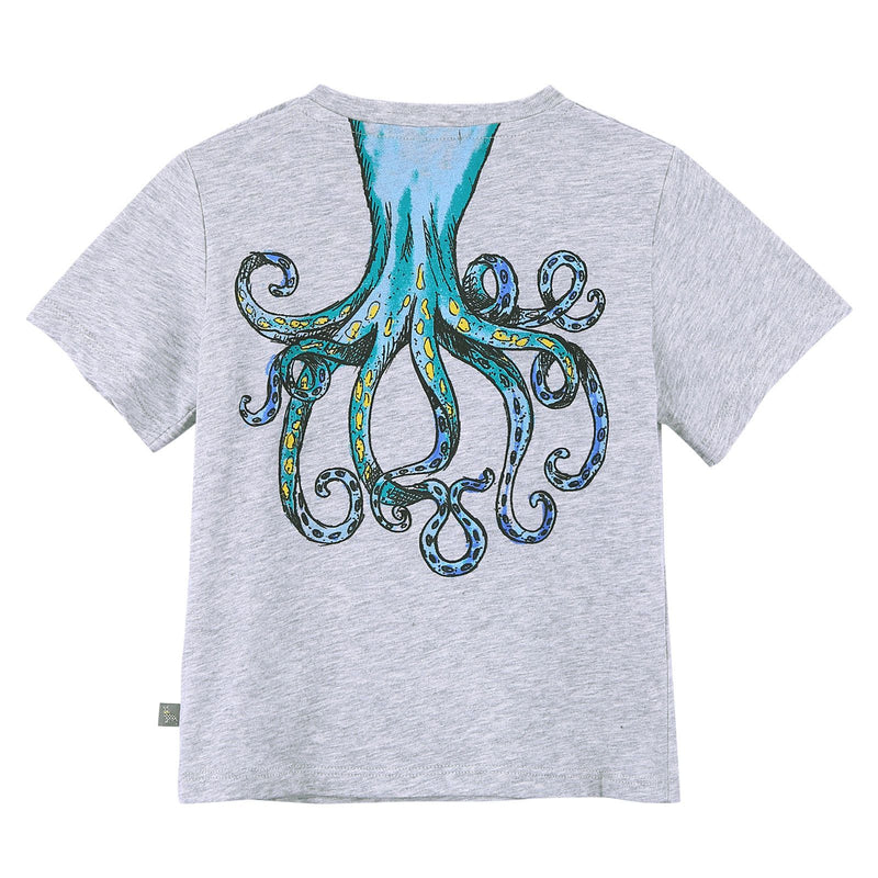 Baby Girls Grey Cotton T-Shirt With Octopus Print Trims - CÉMAROSE | Children's Fashion Store - 2
