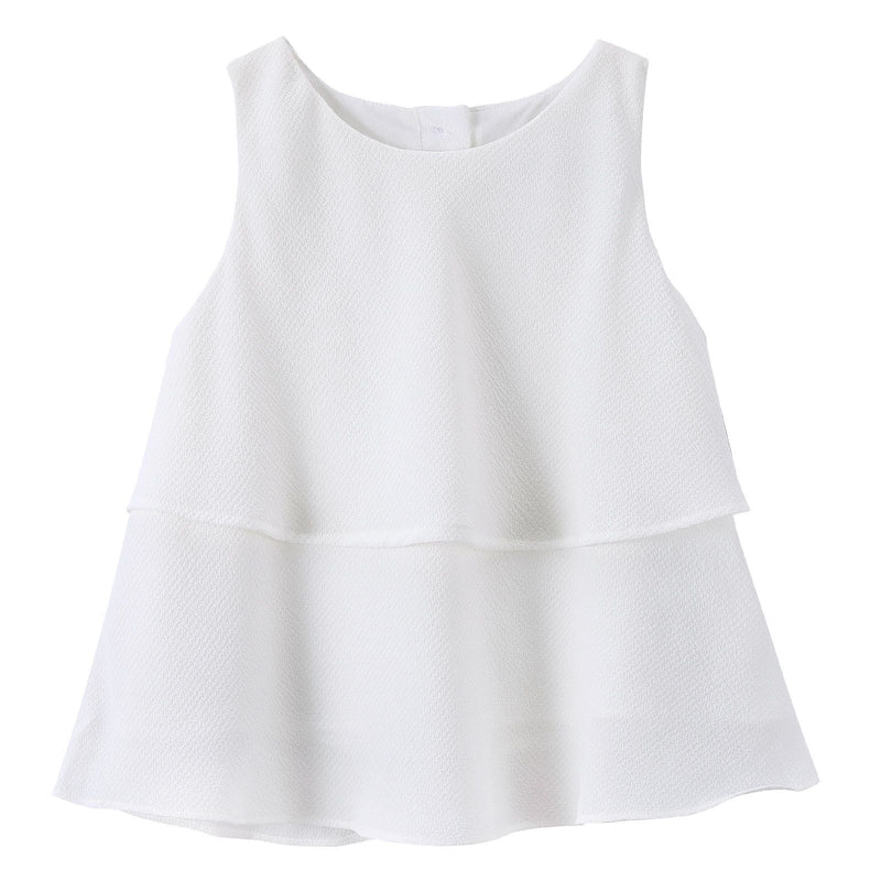 Girls Milk White Ruffled Cotton Sleeveless Blouse - CÉMAROSE | Children's Fashion Store - 1