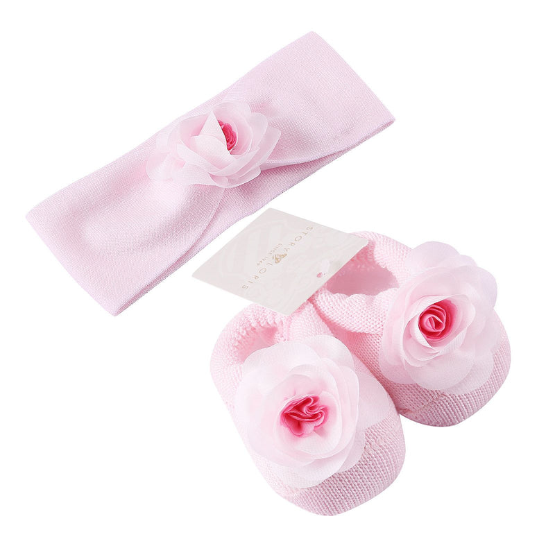 Baby Pink Knitted Cotton Rose Shoes&Hair Band Gift Set - CÉMAROSE | Children's Fashion Store - 1