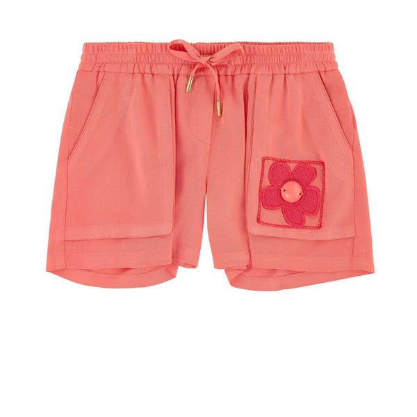 Girls Pink Flowing Cut Embroidered Flower Bermuda Shorts - CÉMAROSE | Children's Fashion Store
