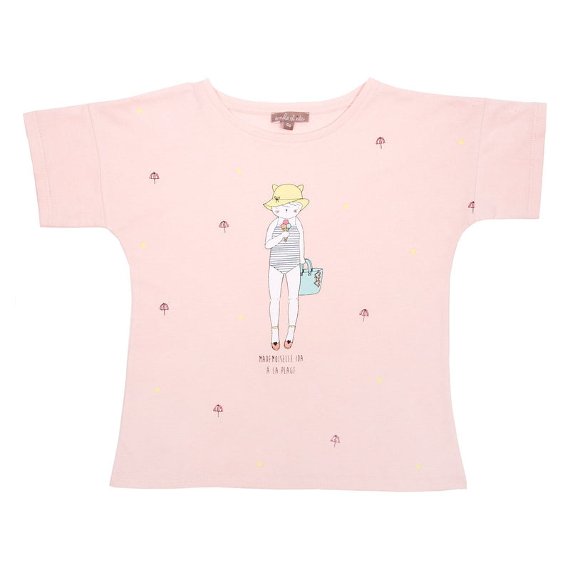 Girls Pink Cartoon Printed Cotton T-Shirt - CÉMAROSE | Children's Fashion Store