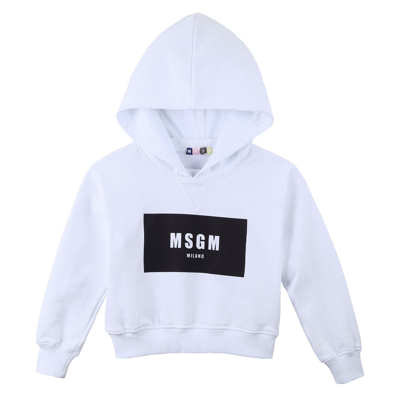 Girls White Cotton Hooded Sweater With Brand Name Logo - CÉMAROSE | Children's Fashion Store - 1