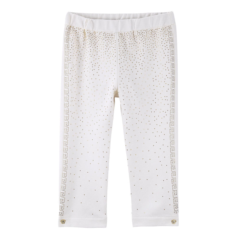 Baby Girls White Cotton Trousers With Gold Spot Trims - CÉMAROSE | Children's Fashion Store - 3