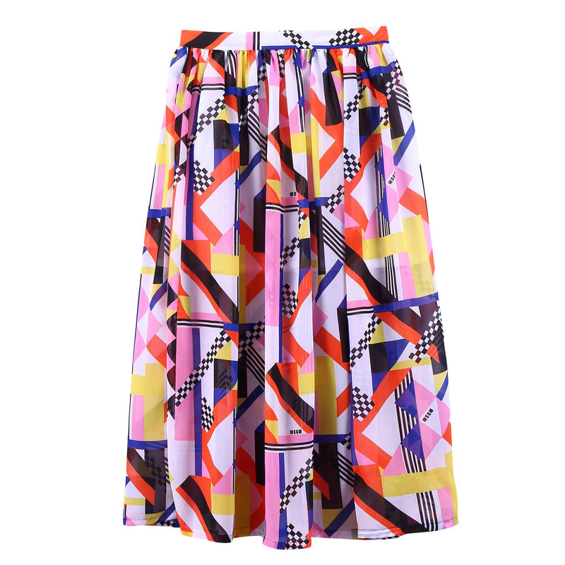 Girls Multicolor Printed Elastic Waist Silk Skirt - CÉMAROSE | Children's Fashion Store - 1