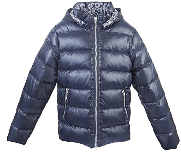 Boys Navy Blue Down Padded Jacket With Print Lining - CÉMAROSE | Children's Fashion Store