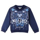 Girls Navy Blue Cotton Embroidered Tiger Head Sweatshirt - CÉMAROSE | Children's Fashion Store - 1