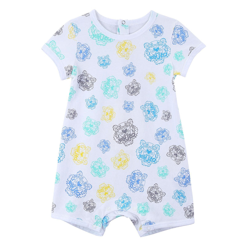 Baby White Cotton Babygrow With Multicolor Print Trims - CÉMAROSE | Children's Fashion Store - 1