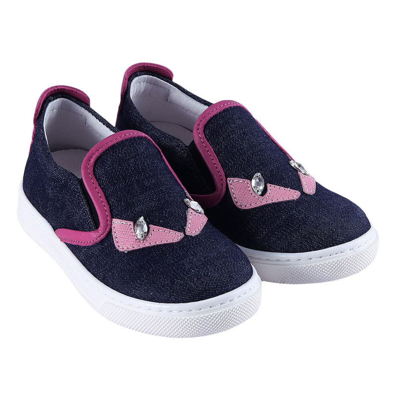Girls Blue 'Monster' Surface Leather Trainers - CÉMAROSE | Children's Fashion Store - 1