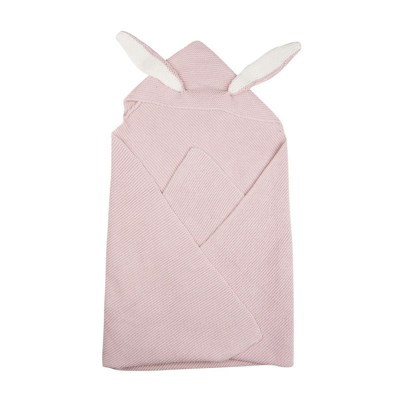 Baby Light Pink Alpaga Wool Bunny Ears Blanket - CÉMAROSE | Children's Fashion Store