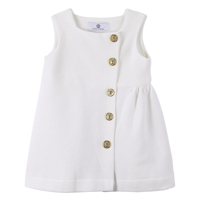 Baby Girls White Dress With Gold Button - CÉMAROSE | Children's Fashion Store - 1