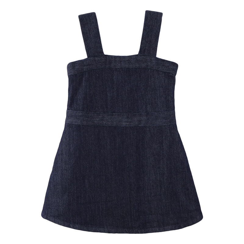 Girls Navy Blue Cotton Sleeveless Denim Dress - CÉMAROSE | Children's Fashion Store - 1