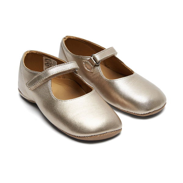 Baby Girls Gold Leather Shoes