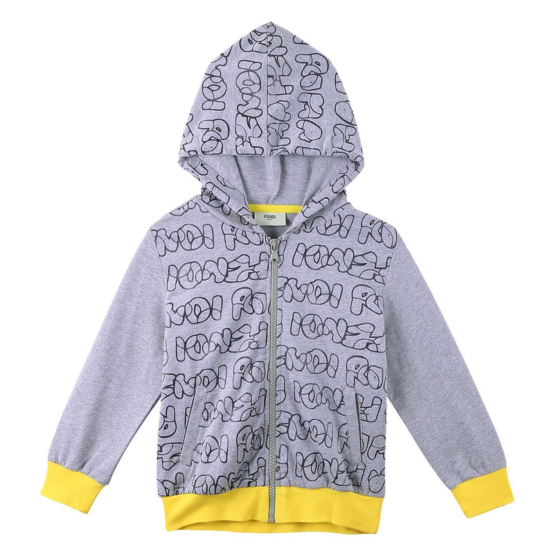Boys Grey Cotton Printed Trims Zip-up Tops With Yellow Cuffs - CÉMAROSE | Children's Fashion Store - 1