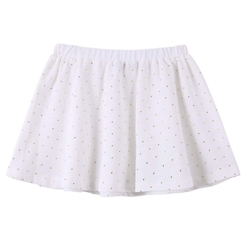 Baby Girls White Cotton Skirt With Gold Spot Trims - CÉMAROSE | Children's Fashion Store - 2