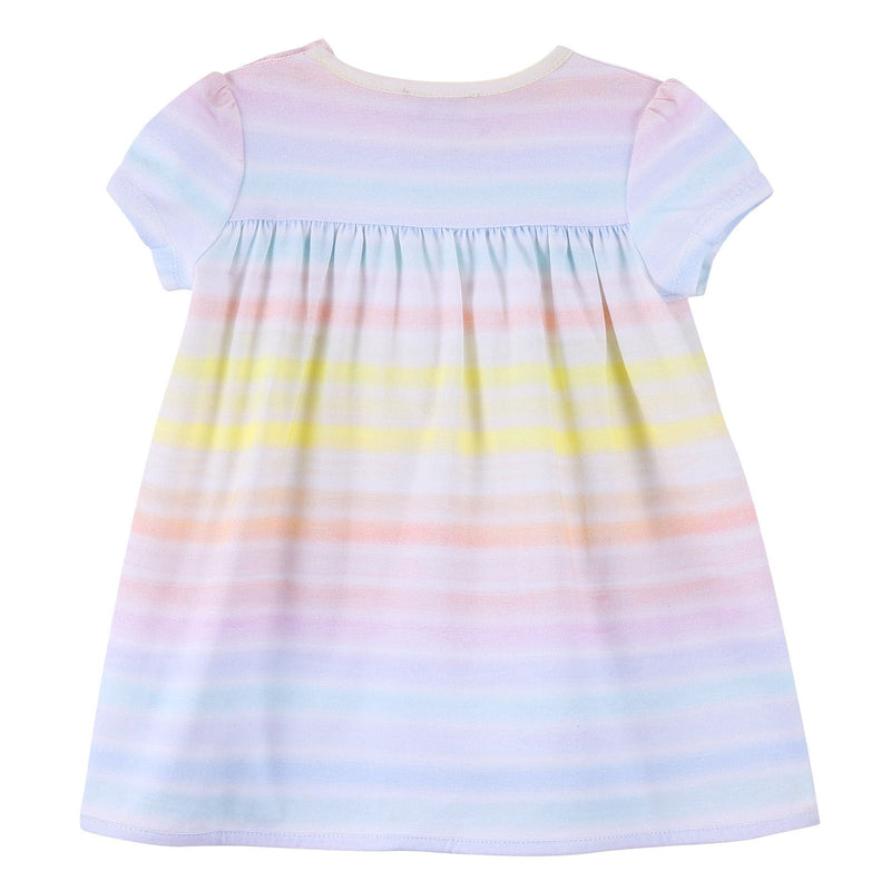 Baby Girls White Cotton Dress With Colorful Stripe - CÉMAROSE | Children's Fashion Store - 2