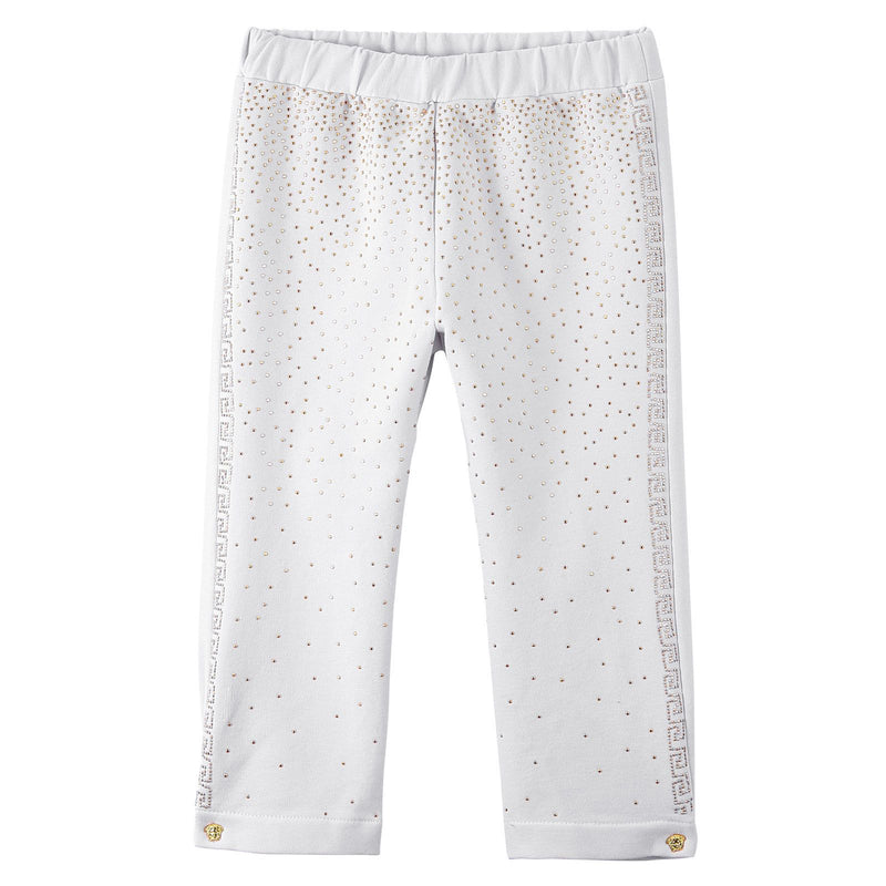 Baby Girls White Cotton Trousers With Gold Spot Trims - CÉMAROSE | Children's Fashion Store - 1