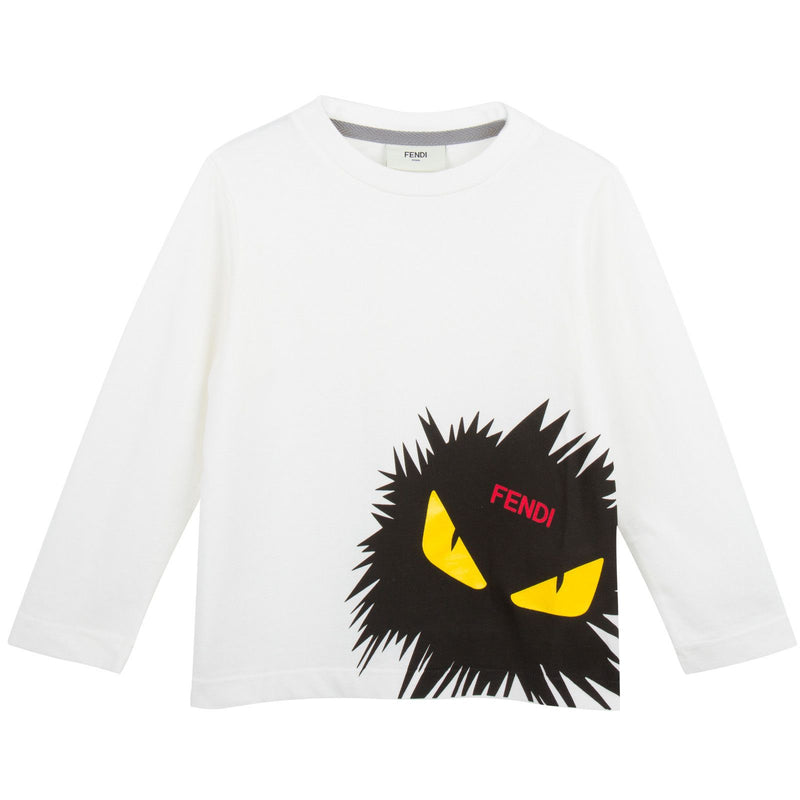 Boys White Cotton T-Shirt With Monster Logo - CÉMAROSE | Children's Fashion Store - 1