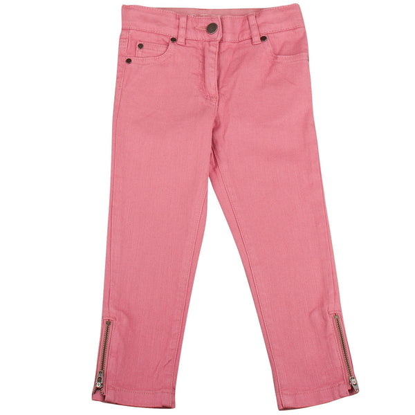 Nina Girls Red Cotton Trousers With Zips At The Ankle - CÉMAROSE | Children's Fashion Store - 1