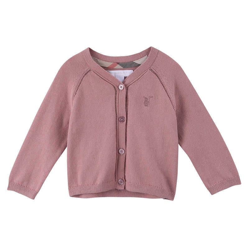 Baby Girls Light Pink Knitted Cotton Cardigan - CÉMAROSE | Children's Fashion Store - 1